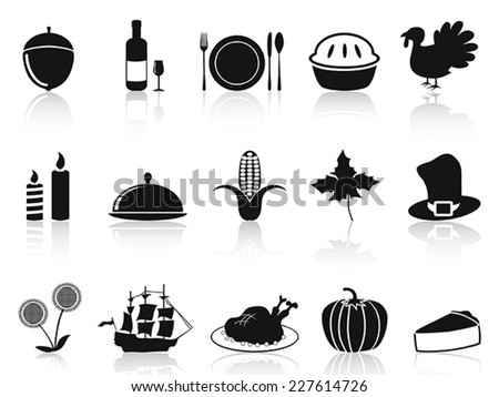 black thanksgiving icons set - stock vector