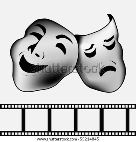 black theatrical mask of tragedy and comedy vector - stock vector