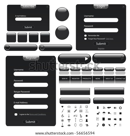 Black theme web template with forms, bars, buttons and many icons! - stock vector