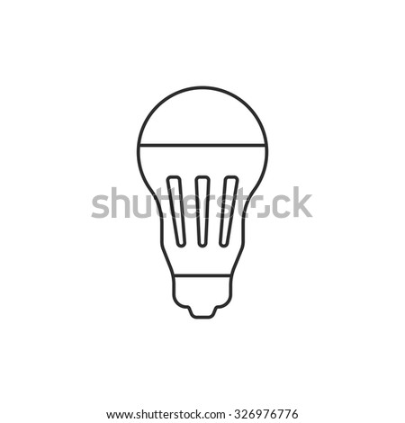 black thin line led bulb icon. concept of halogen, luminosity, illuminate, energy conservation, lighting. isolated on white background. flat style trend modern logotype design vector illustration - stock vector