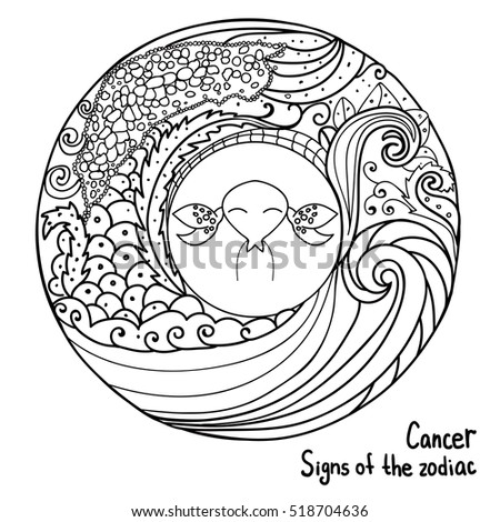 astrology black thin lines abstract signs of the zodiac horoscope hand drawing coloring page