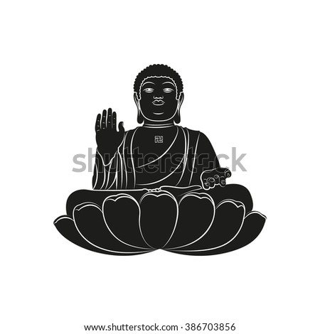 Black Tian Tan Buddha with Om mantra isolated on white background. Elements for company logos, print products, page and web decor. Vector illustration. - stock vector