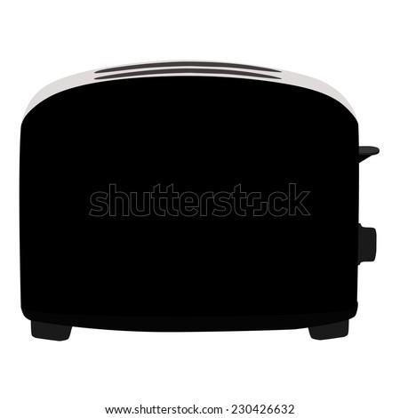 Black toaster, toaster icon, toaster isolated, toaster vector - stock vector