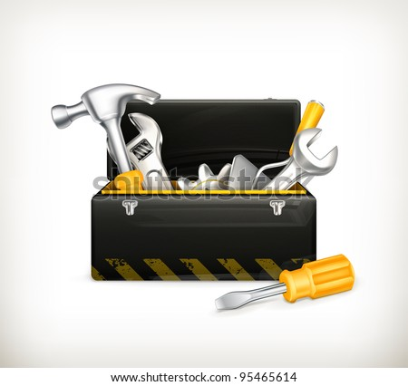 Black toolbox, 10eps - stock vector