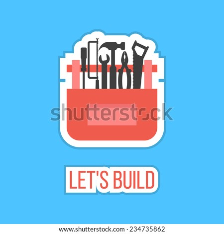 black tools in red box sticker with let's build inscription. concept of happy father and labor day. isolated on stylish blue background. flat style design modern vector illustration - stock vector