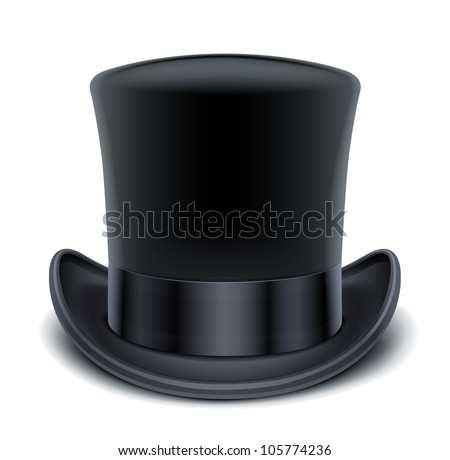 black top hat vector illustration isolated on white background EPS10. Transparent objects and opacity masks used for shadows and lights drawing - stock vector
