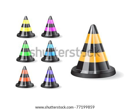 Black traffic cones icons isolated on white background - stock vector