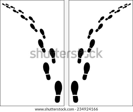 Black trail left and right of shoe prints, vector  - stock vector