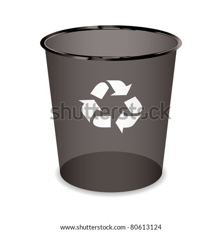 Black transparent trash or waste recycle bin - stock vector