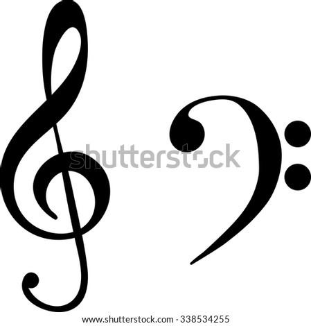 Black Treble Bass Clef Music Symbols Stock Vector 338534255