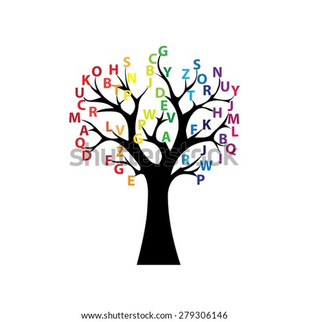 Black tree and colored letters