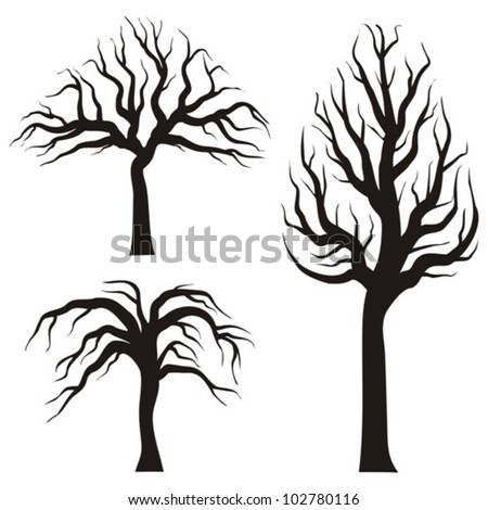 black tree silhouettes on a white background, vector illustration - stock vector
