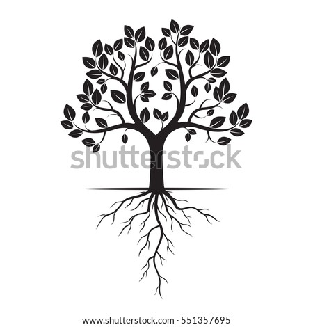 black tree roots vector illustration stock vector 2018 551357695 rh shutterstock com tree with roots vector image tree roots vector free download