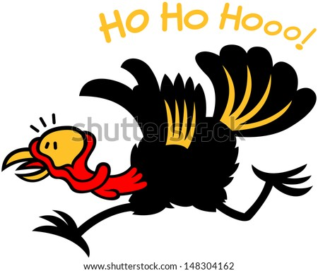 Black turkey completely frightened and feeling in big trouble. In hurry to leave, to run away after having heard Santa Claus laughing - stock vector