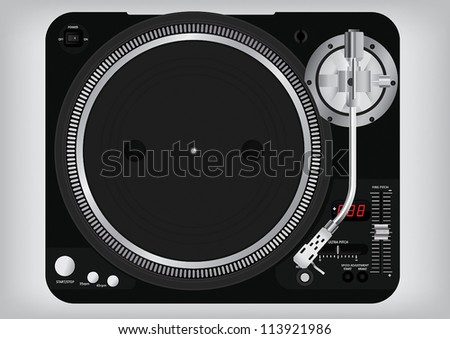Black turntable - stock vector