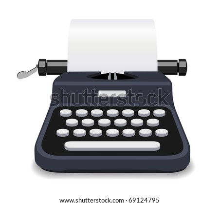 Black typewriter vector illustration - stock vector