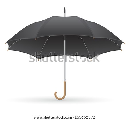 black umbrella vector illustration isolated on white background