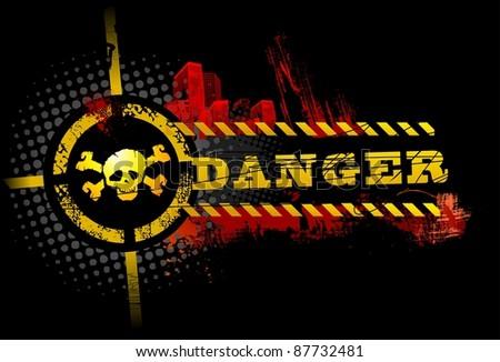 Black Urban Grunge Danger Skull detailed vector - stock vector