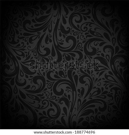 Black Vector Background. Floral Pattern, Wallpaper with Flowers. Vintage Background.