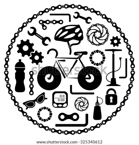 Black vector bike tools equipment and accessories icons - stock vector