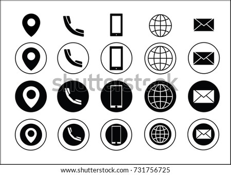 Black vector business card contact information stock photo photo black vector business card contact information icons reheart Gallery