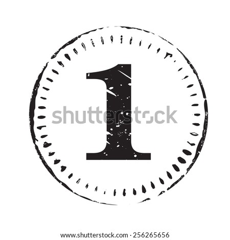 Black vector circles grunge stamp one - stock vector