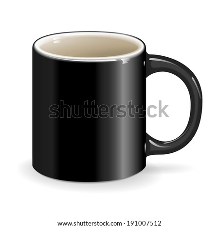 black vector cup object drink ceramic - stock vector