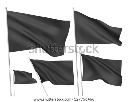 Black vector flags. A set of 5 wavy 3D flags created using gradient meshes - stock vector