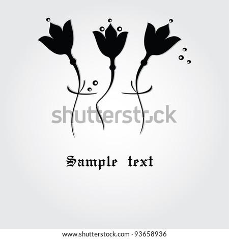 Black  vector flowers. - stock vector