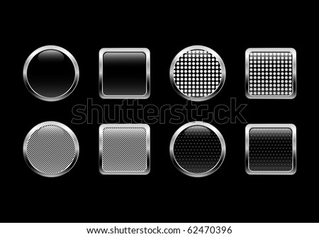 Black vector glossy web buttons.EPS 10 - stock vector