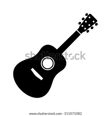 Black vector guitar icon isolated on white background - stock vector