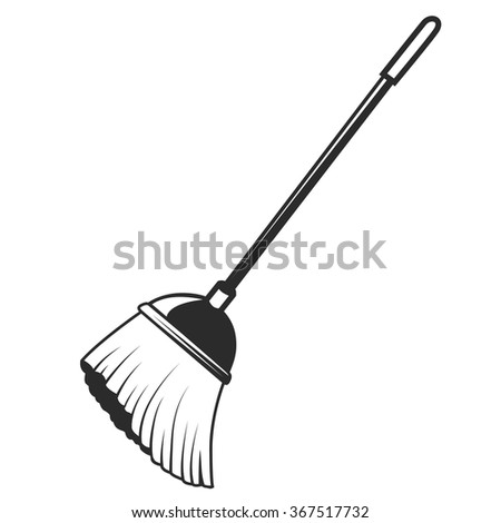 Black Vector Icons Broom On White Stock Vector 367517732