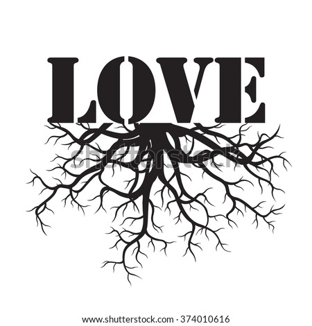 Black Vector Illustration LOVE and Roots - stock vector