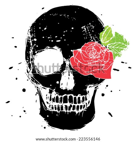 Black vector isolated skull with red rose and green leaves, illustration in grunge design style - stock vector