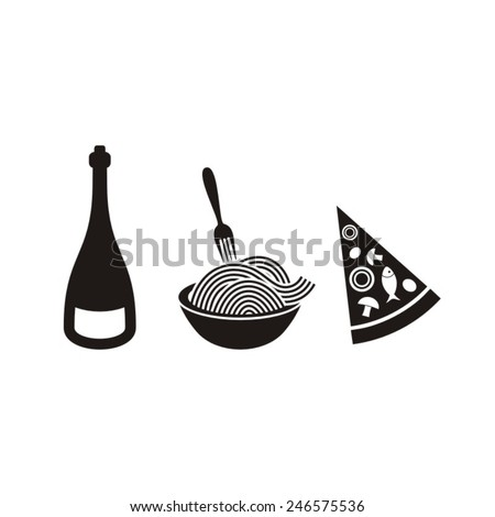 Black vector italian food icons on white background - stock vector