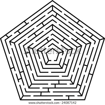 black vector labyrinth pentagon type - stock vector