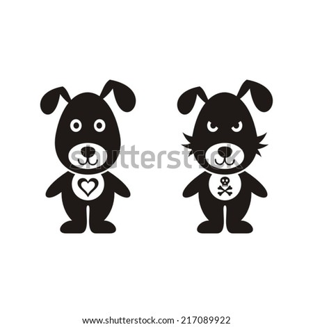 Black vector lovely and bad dog icons isolated - stock vector