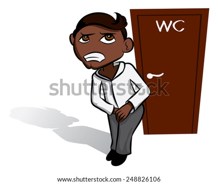 Black vector man waiting near WC, toilet sign - stock vector