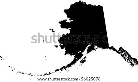 black vector map of Alaska - stock vector