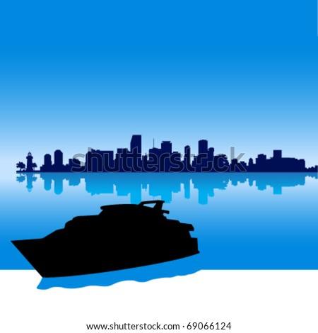 Black vector  Miami silhouette skyline with yacht - stock vector