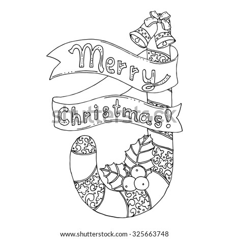 Black Vector Mono Color Illustration Merry Stock Vector Merry And Happy New Year Coloring Pages