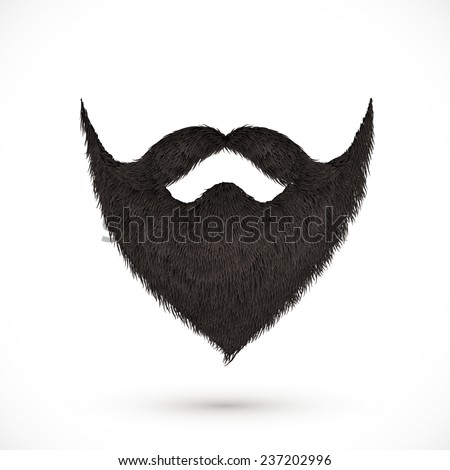 Black vector mustaches and beard isolated on white background - stock vector