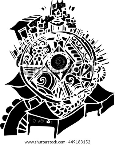 black vector of hand draw design