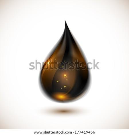 Black vector oil drop - stock vector