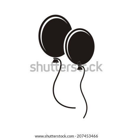 Black vector party balloons icon on white background - stock vector