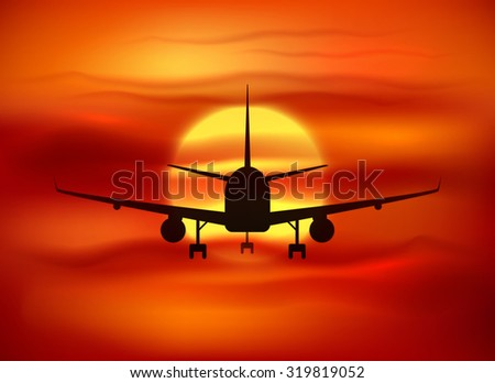 Black vector plane silhouette at red sunset background - stock vector