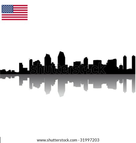 Black vector San Diego silhouette skyline with USA flag - stock vector
