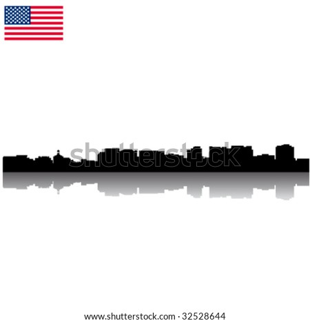 Black vector San Jose silhouette skyline with USA flag - stock vector