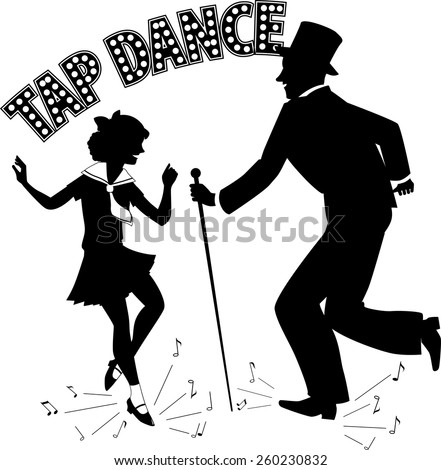 Black vector silhouette of a man in a top hat and with a cane teaching little girl dancing, music notes flying from under their feet, retro style lettering on the top, no white, EPS 8 - stock vector