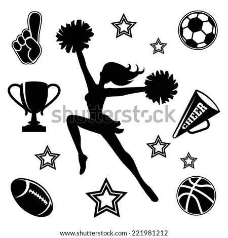 black vector silhouette of a young female cheerleader with her pompoms surrounded by associated sport icons